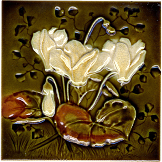 J. H. Barratt & Co. - c.1900 - White Flowers On Green - Victorian Majolica - Embossed & Indented - Antique Tile