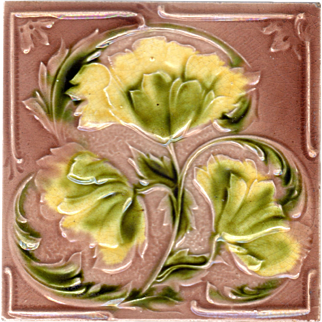 Corn Brothers - c.1900 - Yellow Flowers - Early Art Nouveau - Antique Majolica Tile 2