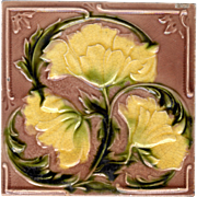 Corn Brothers - c.1900 - Yellow Flowers - Early Art Nouveau - Antique Majolica Tile - Red Tag Sale Item