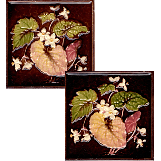 The Decorative Art Tile Co. c.1889 -Two (2) - White Flowers & Colorful Leaves - Early Majolica - Embossed Tiles