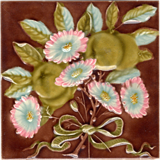 Gibbons, Hinton & Co.- c.1901 - English Daisies & Reine Claude Plumbs - Antique Embossed Majolica Tile