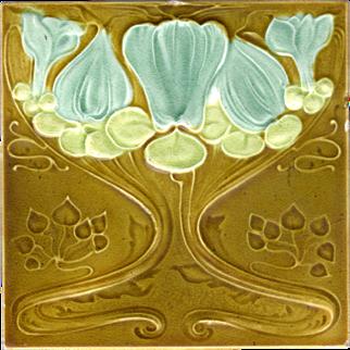 Malkin Tile Works Co. - c.1905 - Blue Flower & Lime Green Leaves - Olive Field - Art Nouveau - Embossed & Indented - Antique Majolica Tile