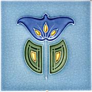 Malkin Tile Works Co., Ltd. - c.1907 - Blue & Yellow Abstract Flower - Art Nouveau - Antique Majolica Tile