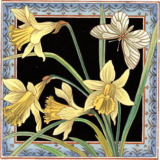 "Maw & Co. - c.1882 - Daffodils & Butterfly - 8""x 8""- Antique Victorian - Hand Tinted - Transfer Printed Tile"