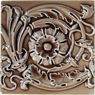 Maw & Co - c1870 - Gothic Flower & Scrolling Acanthus - Translucent Brown -  Antique Majolica - High Relief - 6x6 -Tile