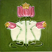 Alfred Meakin, Ltd. - c.1910 - Pink & Yellow Flowers - Cream & Green Field - Antique Art Nouveau Tile