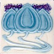 "Alfred Meakin, Ltd - c.1905 - Blue & Purple ""Spade"" Leaf & Flower Design - Antique Art Nouveau Tile 2"
