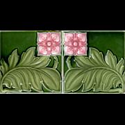 Alfred Meakin, Ltd. - c.1905 - Two (2) Tiles - Pink Flowers & Green Leaves - Art Nouveau - Antique Majolica 6x6 Tiles