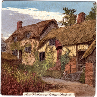 Mintons, Ltd. - c.1885 - Anne Hathaway's Cottage -  Antique Victorian - Tinted Transfer Printed - Teapot Stand