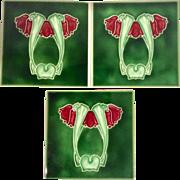 George Marsden - c.1905  Red Cyclamen & Dark Green - Antique  Art Nouveau Majolica Tiles (3)