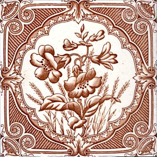 H. A. Ollivant - c.1895 - Brown Floral - Transfer Print - Antique Victorian Tile