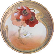 "Pickard China Studio - c.1905 - Red Poppies & White Daisy & Gold - Signed Otto Schoner - Josephine JHR Bavaria Favorite - 8 3/8"" - Antique Plate"