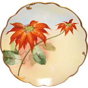 """Pickard China Studio - c.1907 - Red Poinsettias &  Gold - Signed by Otto Goess - Art Nouveau - 6""""- Antique Scalloped Plate"""
