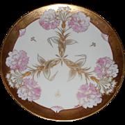 "Pickard China Studio - c.1907 -  Pink Carnations & Raised Gold - Signed by Emil Fischer - Haviland Limoges Porcelain - Art Nouveau - 8 5/8""- Plate"