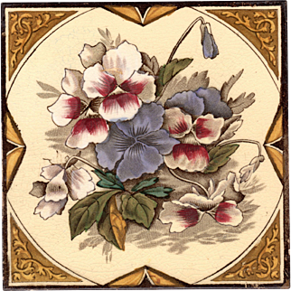 Pilkington Tile Co. - c.1900 - Red Purple & White, w/ Violet, Pansies - Antique Polychrome - Hand Tinted - Transfer Printed - Victorian Floral Tile