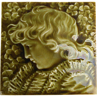 Providential Tile Works - c.1886 - Young 18th Century Boy  - Antique Majolica - Portrait Tile