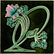 The Henry Richards Tile Co. - c.1907 - Pink & Blue Flower & Whiplash Stems - Art Nouveau - Antique Majolica Tile - Red Tag Sale Item