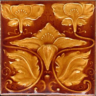 Henry Richards Tile Co. - c.1901 - Golden Honey Brown - 3 Flower & Leaf - Art Nouveau - Antique Majolica Tile