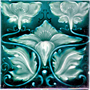 Henry Richards Tile Co. - c.1901 - Turquoise & Teal - 3 Flower & Leaf - Antique Majolica