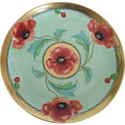"J. H. Stouffer Co.- c.1905 - Red Poppies & Gold - Hand Painted - Edward P. Mentges Signed -  8 1/2"" - Antique Plate"
