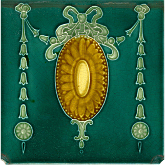 Neoclassical Antique Tile - c1905 - Swagged Garlands With Ribbons & Rosettes Around Gold Shield on Forest Green Field