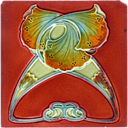 J. & W. Wade Tile Co. - c.1907 - Blue & Amber Ginko Leaves On Matte Red  - Art Nouveau - Antique Majolica Tile - Red Tag Sale Item