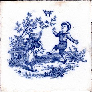 Josiah Wedgwood & Son - c1885 - Children Playing Series - 1 of 6 - Blue Transfer Print - Trivet