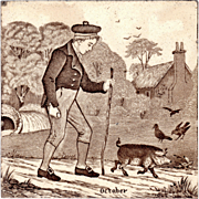 Josiah Wedgwood & Sons - c.1885 - October - Calendar Month Series - Brown Transfer Print - Antique Victorian Trivet Tile