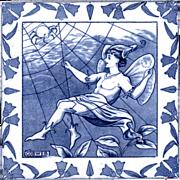 Josiah Wedgwood & Sons - c.1882 - Cobweb - A Midsummer Night's Dream - 8x8 - Helen J.A. Miles - Antique Victorian Tile
