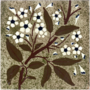 Josiah Wedgwood & Sons - c.1885 - White Flowers On Branch - Arts & Crafts - Barbotine Stencil - Impressed Patent Antique Tile