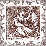 "Josiah Wedgwood & Sons - c.1880 - HERMIA - A Midsummer's Night Dream - 8"" x 8"" - Brown Transfer - Antique Shakespeare Series Tile"