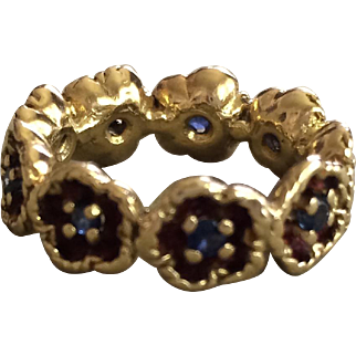 18K Gold and Sapphire Eternity Band