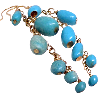 VINTAGE 14K Artisan Gold Turquoise Dangle Earring