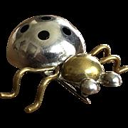 Vintage Taxco Sterling Silver Brass Enamel Ladybug Brooch