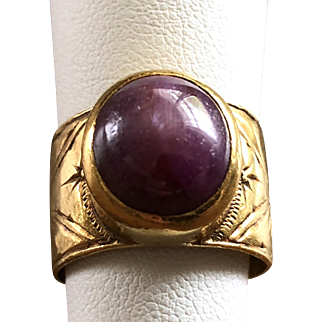 ESTATE: 22k Yellow Gold Star Sapphire Ruby Ring