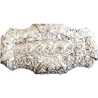 Edwardian Platinum and Diamond Brooch c 1915