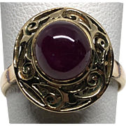 Vintage 14K Yellow Gold Ruby Solitaire Ring