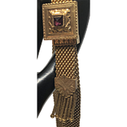 Victorian Mesh Garnet Wedding Bracelet, Rolled Gold Slide and Tassel