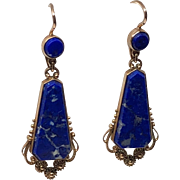 Vintage Russian Gold and Lapis Earrings