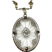 Vintage Art Deco Filigree Camphor Glass Pendant
