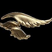 1950s Crown Trifari Leaf Brooch and Earrings