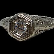 Art Deco 14K Filigree White Gold Diamond Ring