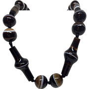 Antique Victorian Banded Agate Necklace