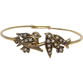 Antique 18K Gold and Seed Pearl Bangle Bracelet