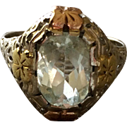 Antique 14K Gold Aquamarine Ring