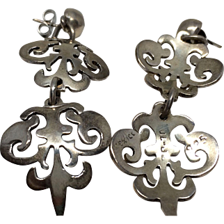 Vintage Sterling Silver Multi-link Earrings Taxco Mexico Artisan Made