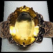 Estate: Victorian 14K Rose Gold Citrine Ring
