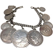 Vintage Foreign Coin Charm Bracelet: Pre- and Post-WWII Europe