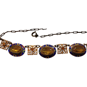 Art Deco Citrine Glass Necklace with Enamel