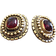 1980s Chanel Faux Gold and Red Clip Earrings